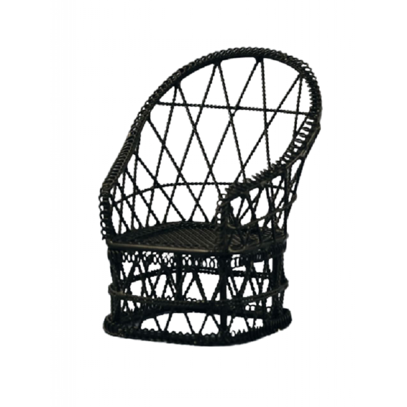 Dolls House Black Wire Wrought Iron Tub Chair Miniature Garden Patio Furniture