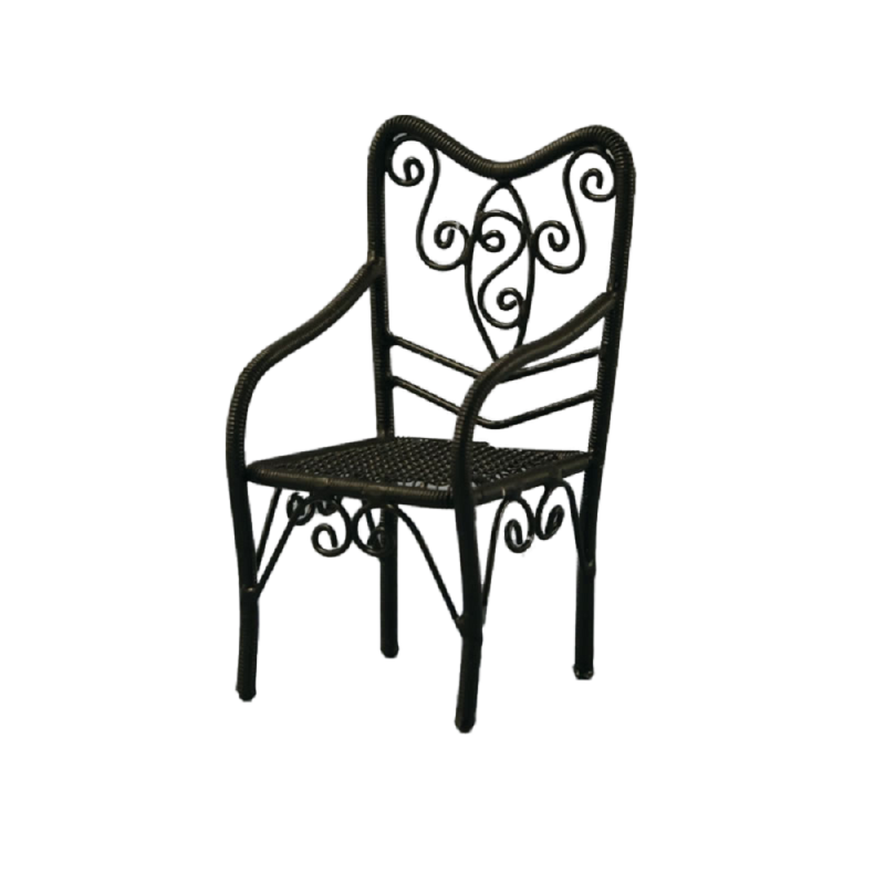 Dolls House Black Wire Wrought Iron Chair Miniature Garden Patio Furniture 1:12