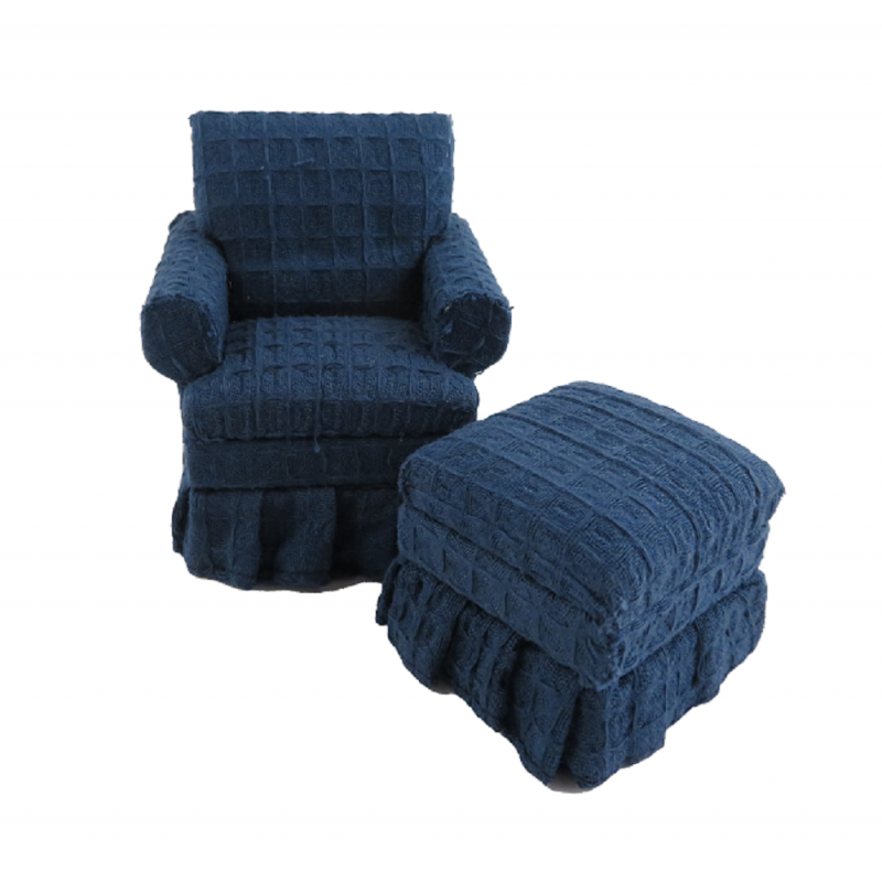 Dolls House Traditional Blue Armchair & Ottoman Miniature Living Room Furniture