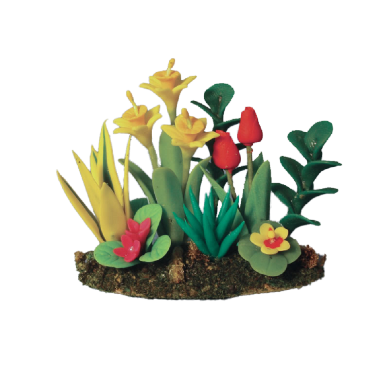 Dolls House Daffodil & Tulip Flowers in Grass Ground Miniature Garden Accessory