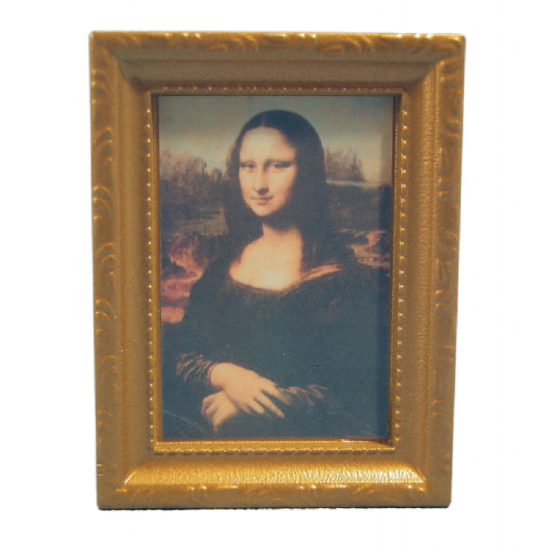 Dolls House Mona Lisa Picture Painting in Gold Frame Miniature Accessory 1:12