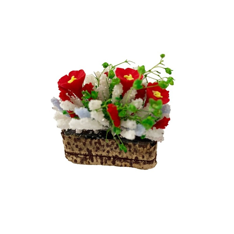 Dolls House Red and White Flowers in Trough Pot Miniature 1:12 Garden Accessory