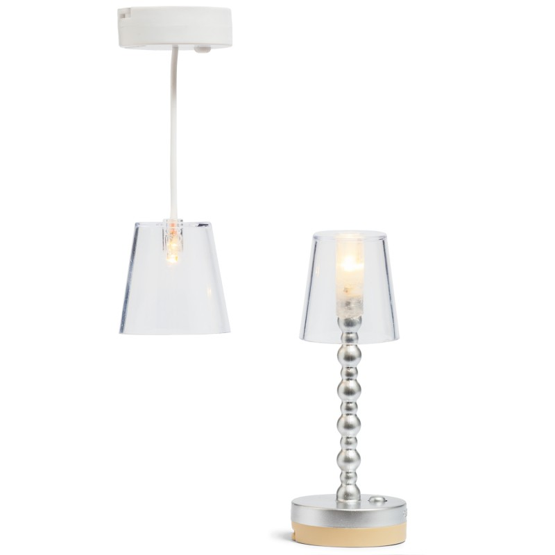 Lundby Ceiling Light & Floor Lamp Modern Dolls House Lights Battery Operated LED