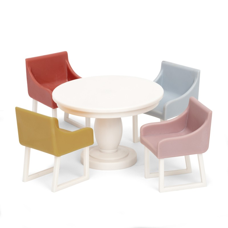 Lundby Basic Dinner Table and 4 Chairs Dolls House Dining Room Furniture Set