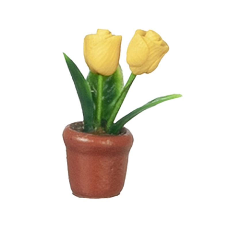 Dolls House Small Yellow Tulip Flowers Terracotta Pot Miniature Garden Accessory