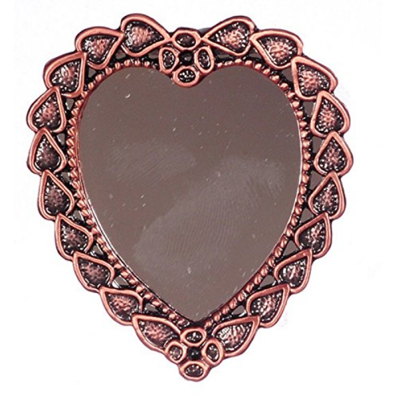 Dolls House Antique Copper Heart Framed Shaped Wall Mirror Miniature