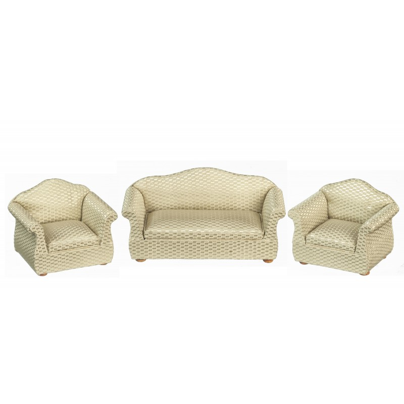 Dolls House Retro Gold Sofa and 2 Armchairs Miniature Living Room Furniture Set