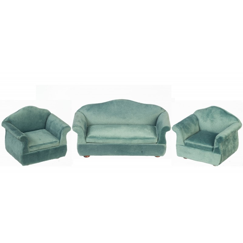 Dolls House Teal Velvet Sofa and 2 Armchairs Miniature Living Room Furniture Set