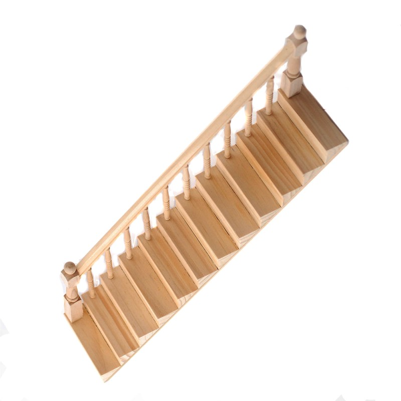 Dolls House Set of 2 Staircase Kits Miniature Bare Wood Stairs DIY Builders