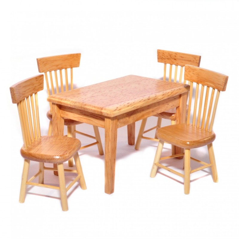 Dolls House Light Oak Table & 4 Chairs Miniature Kitchen Dining Room Furniture