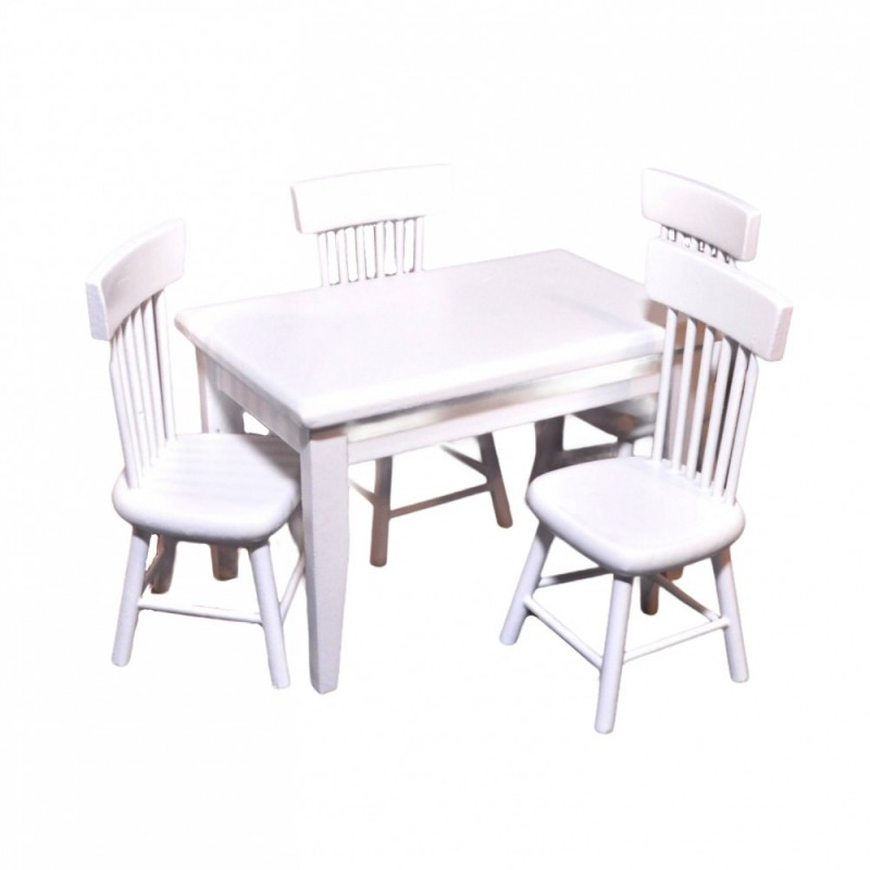 Dolls House White Table & 4 Chairs Miniature Kitchen Dining Room Furniture