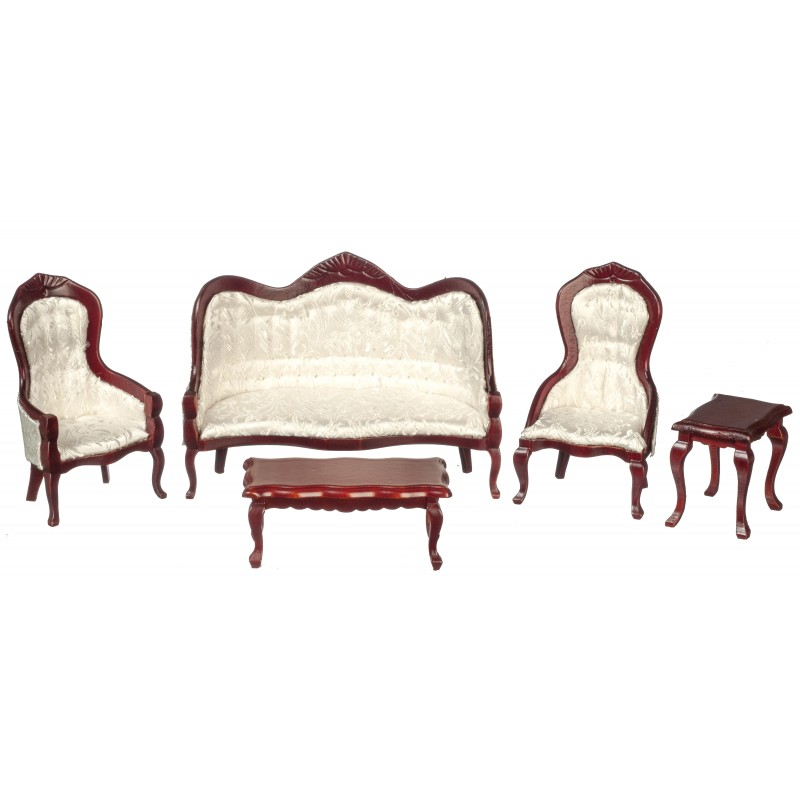 Dolls House Mahogany & White Victorian Living Room Furniture 5 Pc Set Miniature