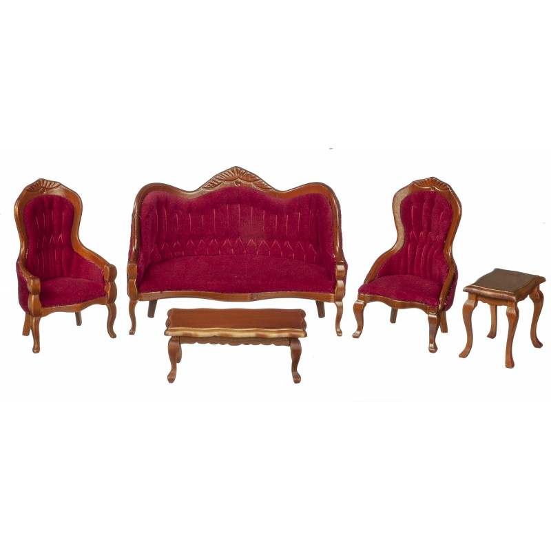 Dolls House Walnut & Red Victorian Living Room Furniture 5 Pc Set Miniature 1:12