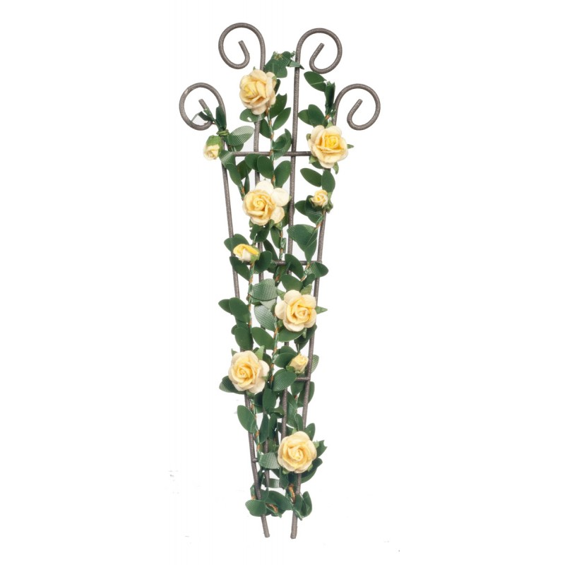 Dolls House Yellow Roses Climbing Wire Trellis Miniature Flower Garden Accessory