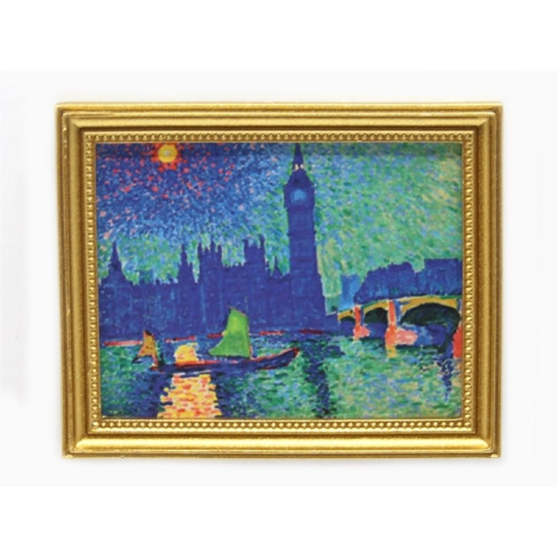 Dolls House London Big Ben Picture Painting Gold Frame Miniature Accessory 1:12