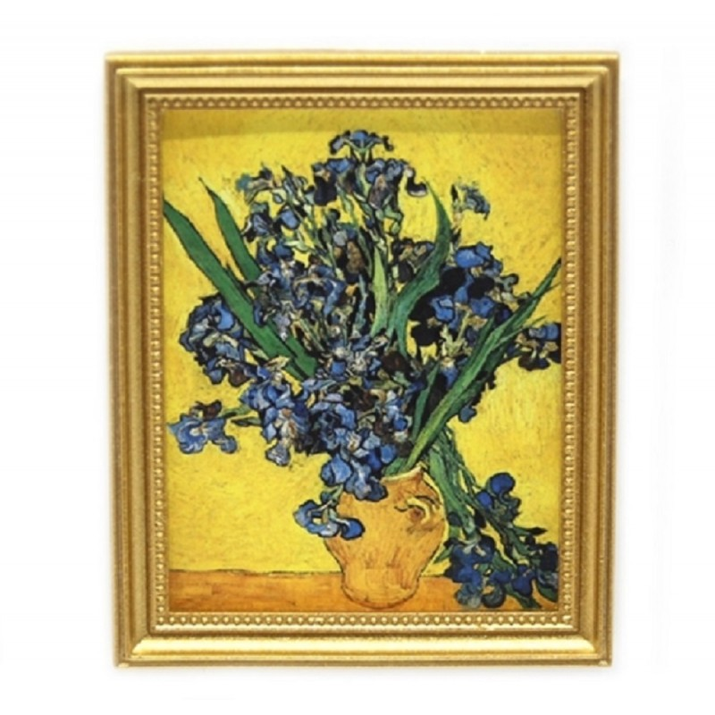 Dolls House Blue Irises in Vase Picture Painting Gold Frame Miniature Accessory