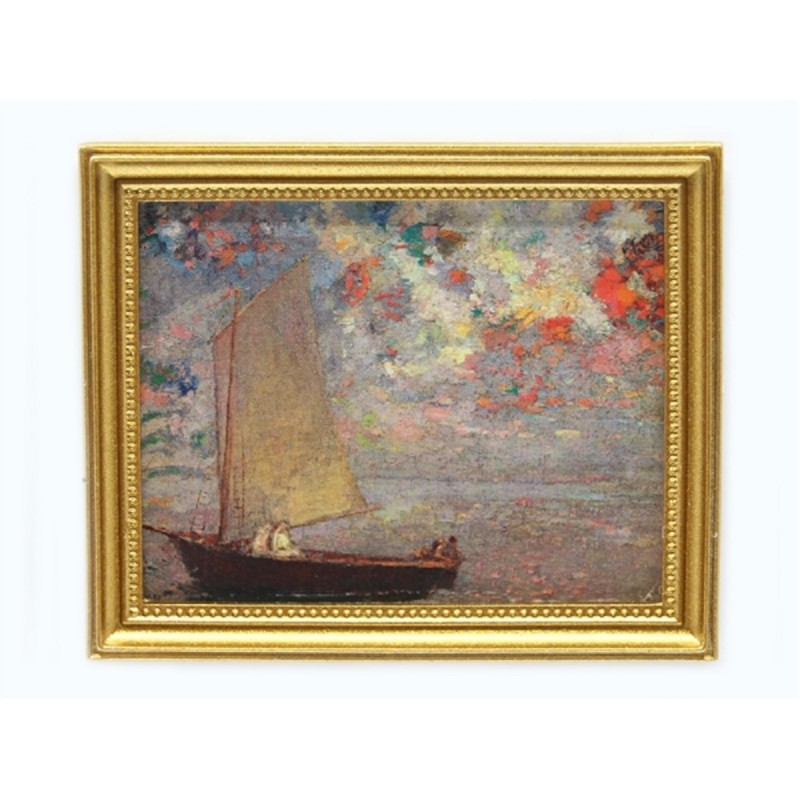 Dolls House Morning Light Picture Boat Painting Gold Frame Miniature Accessory
