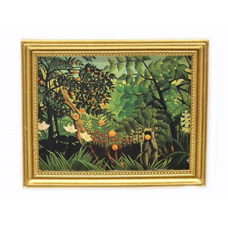 Dolls House Exotic Landscape Picture Painting in Gold Frame Miniature Accessory