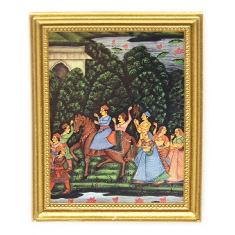 Dolls House Indian Entourage Picture Painting Gold Frame Miniature Accessory