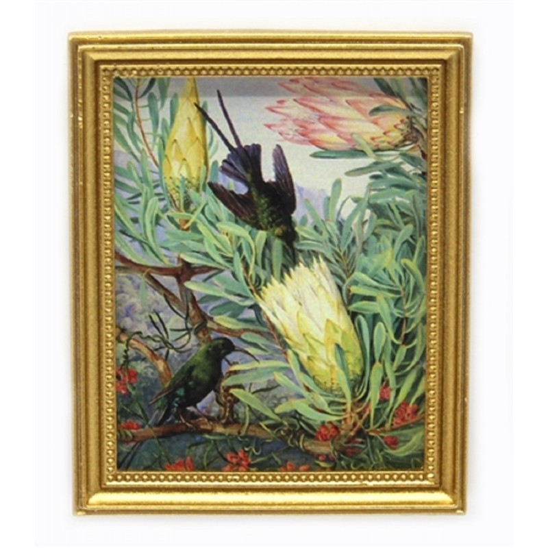 Dolls House Hummingbirds Picture Painting in Gold Frame Miniature Accessory 1:12