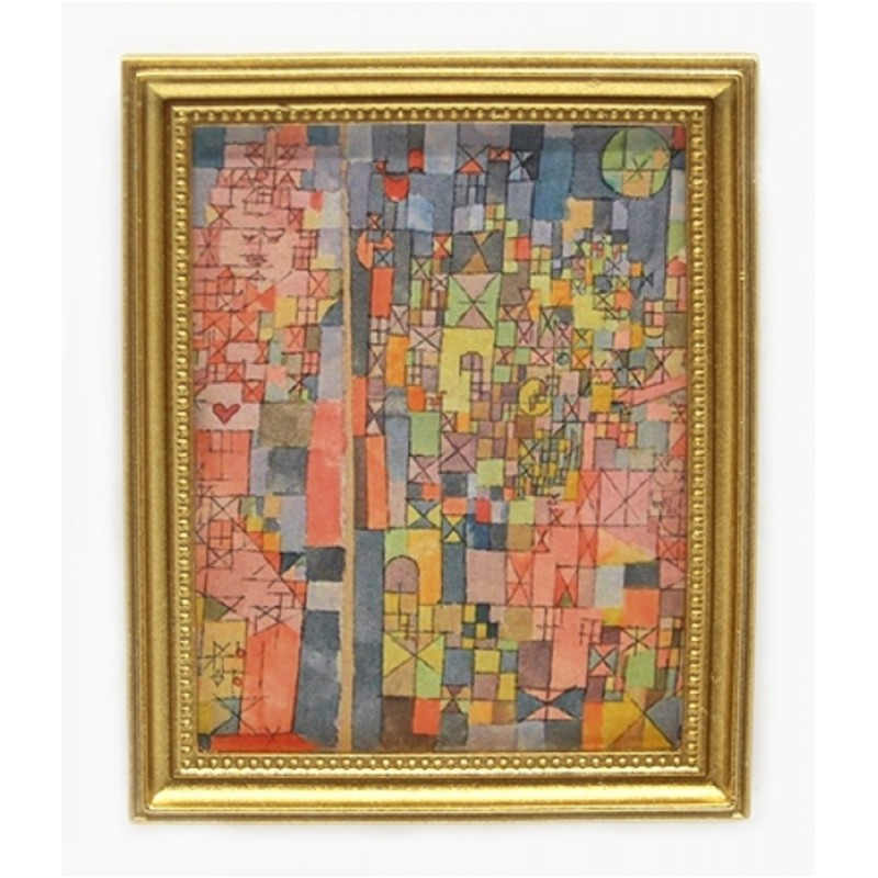 Dolls House Abstract City Picture Painting Gold Frame Miniature Accessory 1:12