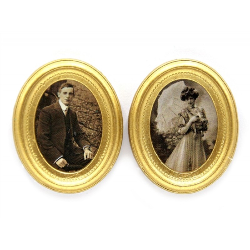 Dolls House 2 Victorian Portrait Pictures in Gold Frames Miniature Accessory