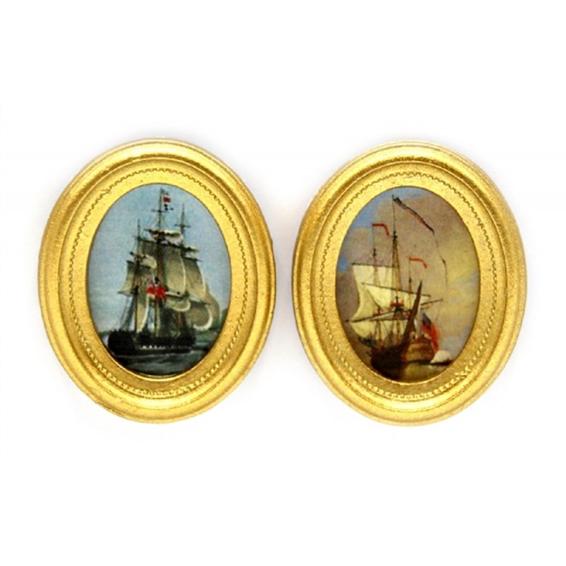Dolls House 2 Naval Ship Paintings Pictures Oval Gold Frames Miniature Accessory