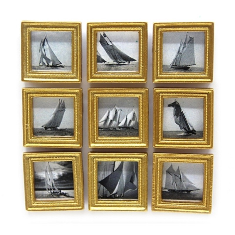 Dolls House 9 Vintage Yacht Pictures Paintings in Gold Frame Miniature Accessory