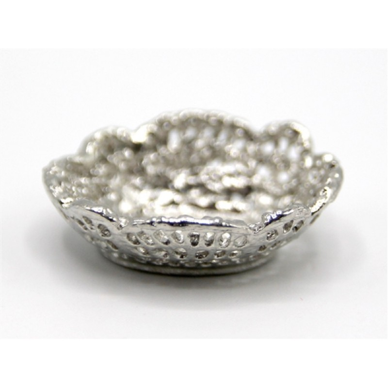 Dolls House Silver Fruit Bowl Miniature Dining Room Table Accessory 1:12 Scale