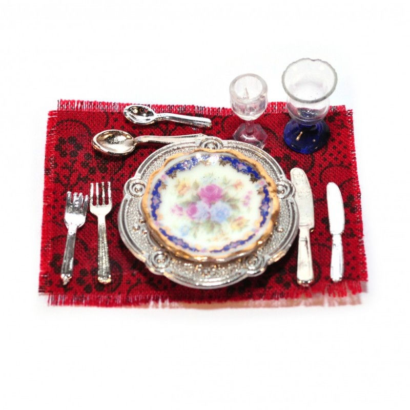 Dolls House Royal Blue Dinner Place Setting Miniature Reutter Dining Accessory