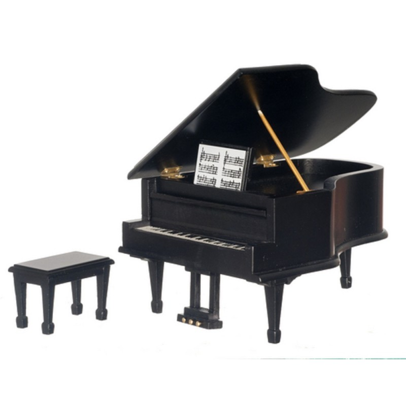 Dolls House Black Grand Piano & Bench Miniature 1:12 Scale Music Room Furniture
