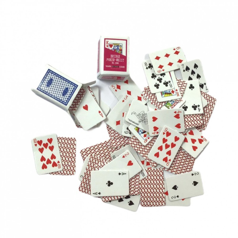 Dolls House Playing Cards with Boxes Miniature Study Pub Games Room Accessory