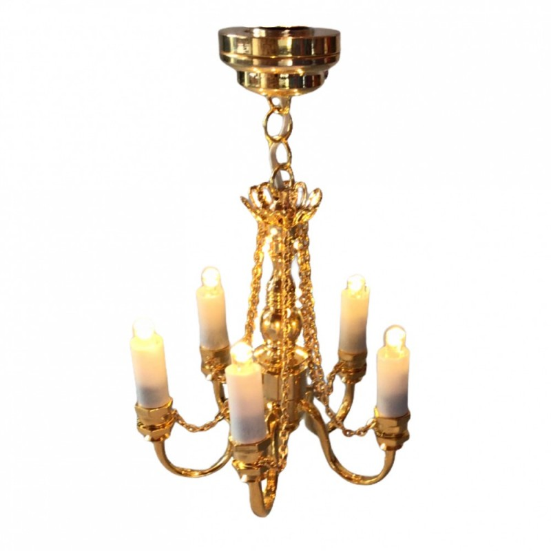 Dolls House Brass 5 Arm Candle Chandelier with Chains Miniature LED Lighting