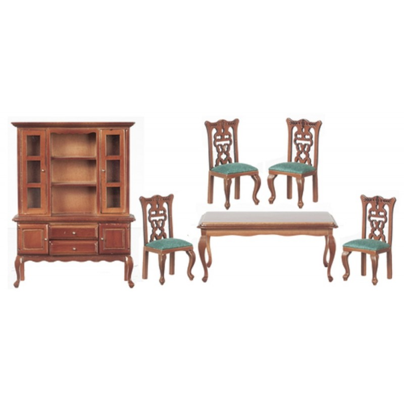 Dolls House Walnut & Green Dining Room Furniture Set with Dresser Table and Chairs