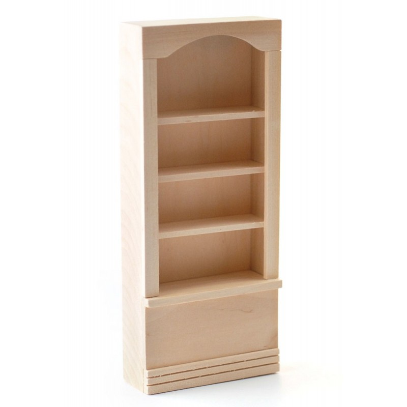 Dolls House Bare Wood Shop Fitting Store Display Shelf Miniature Bookcase Unit