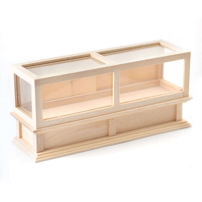 Dolls House Bare Wood Double Display Case Store Counter Shop Fitting Furniture