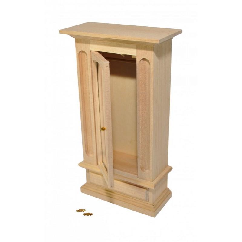 Dolls House Bare Wood Wardrobe Mirrored Door Miniature Bedroom Furniture 1:12