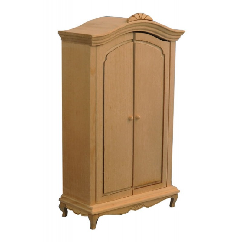 Dolls House French Style Bare Wood Armoire Wardrobe Miniature Bedroom Furniture