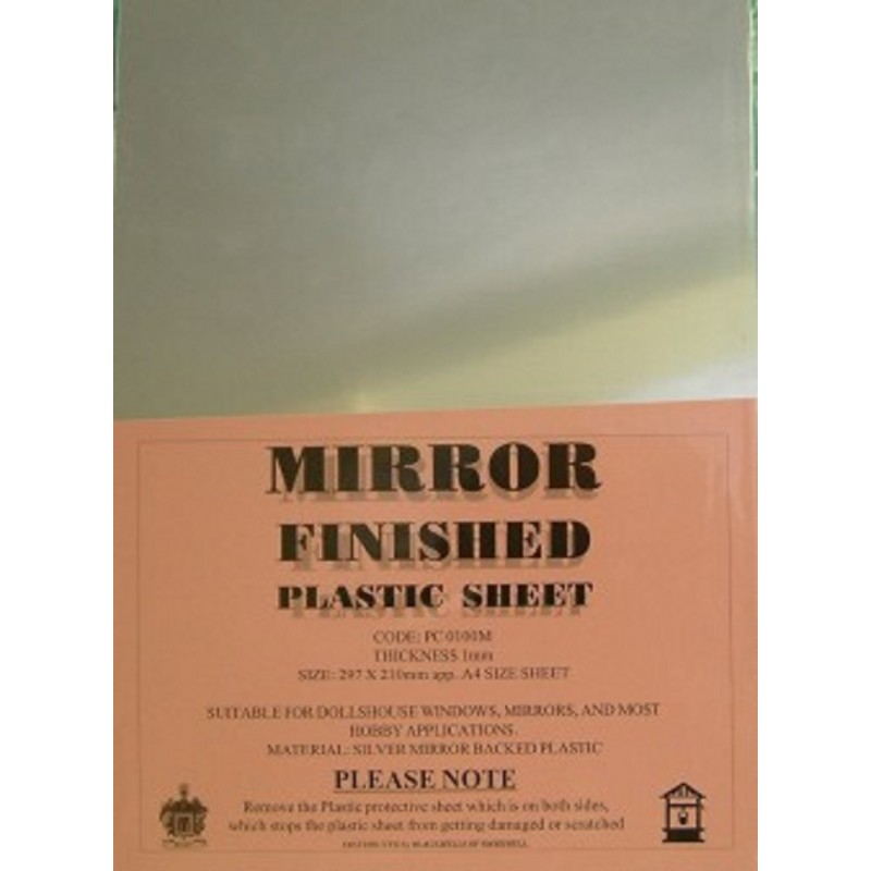 Dolls House Mirror Finished Plastic Perspex A4 Sheet 1mm