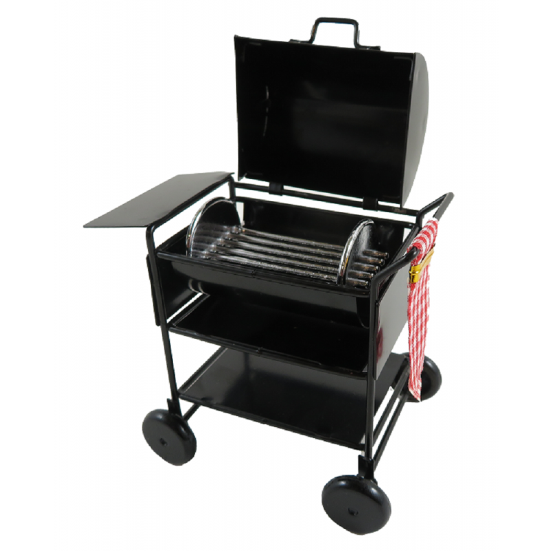 Dolls House Black BBQ Barbecue Charcoal Grill Miniature 1:12 Garden Furniture