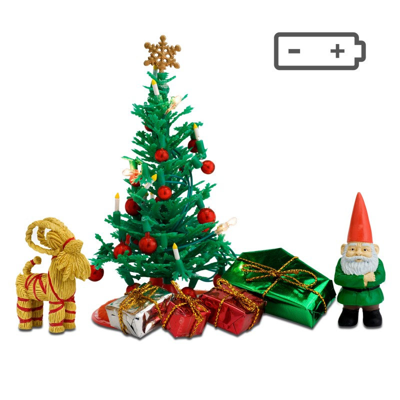 Lundby Christmas Tree Set Modern Dolls House Battery Operated LED Accessories