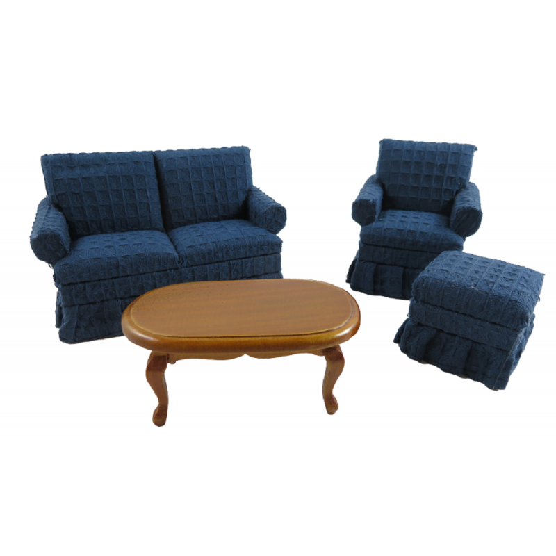 Dolls House Traditional Navy Blue Living Room Furniture Set Miniature 4 Pieces