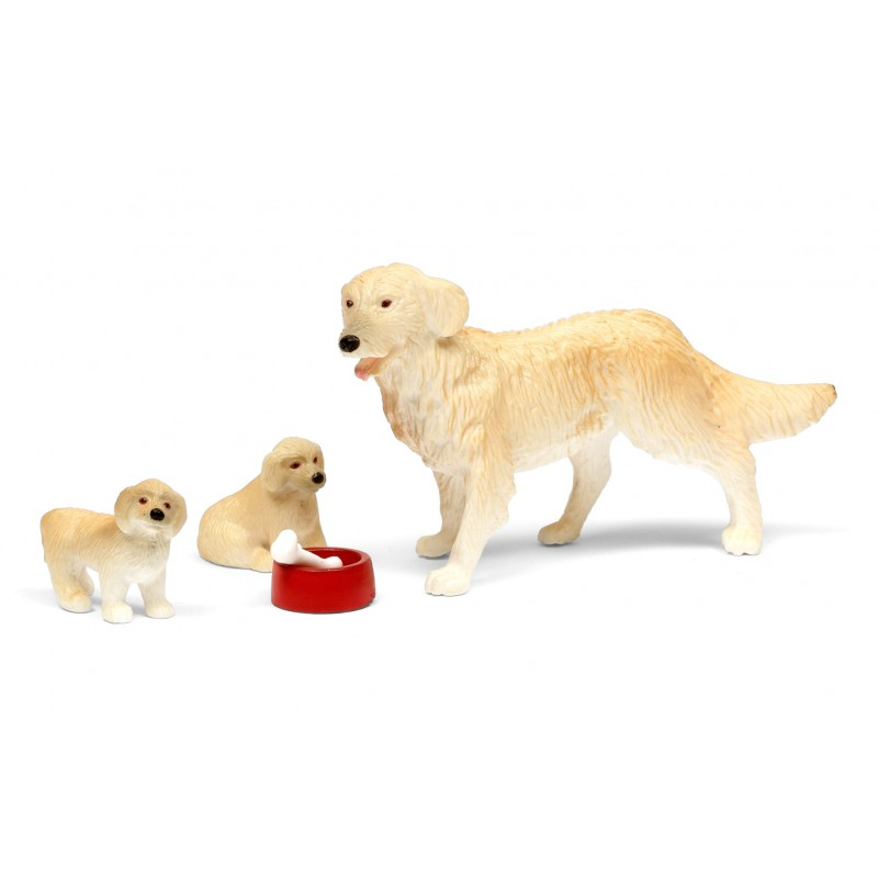 Lundby Dolls House Dog Family Pet Set with 2 Puppies Bowl and Bone