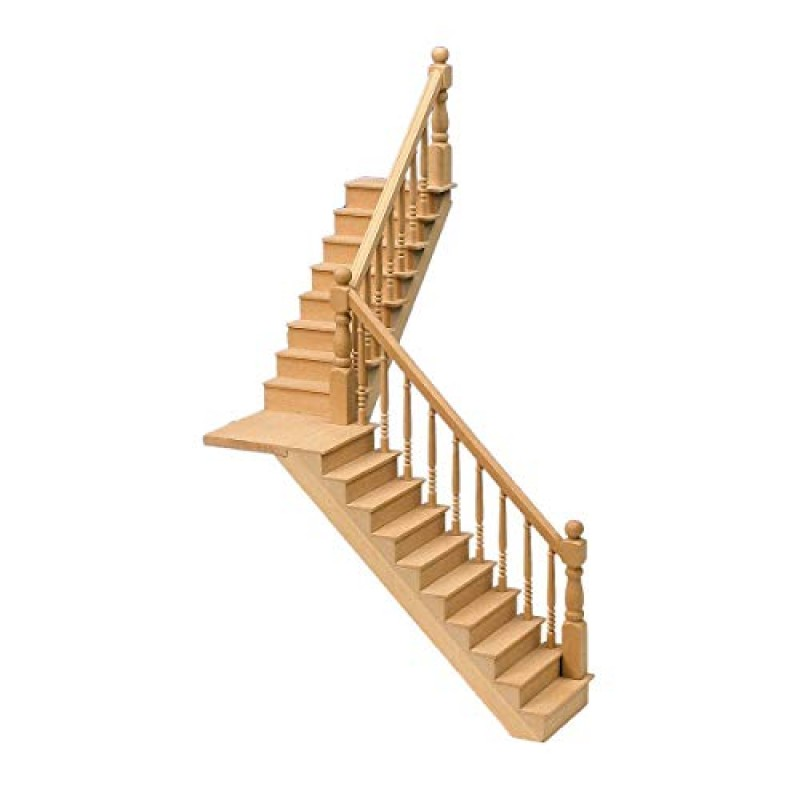 Dolls House Angled Staircase & Landing Kit Wooden Miniature Stairs 1:12 Scale