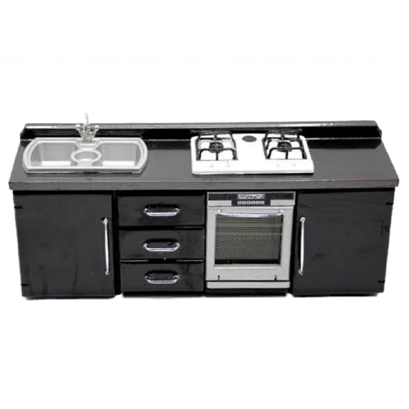 Dolls House Black Modern Kitchen Furniture Sink & Cooker Unit Miniature Stove