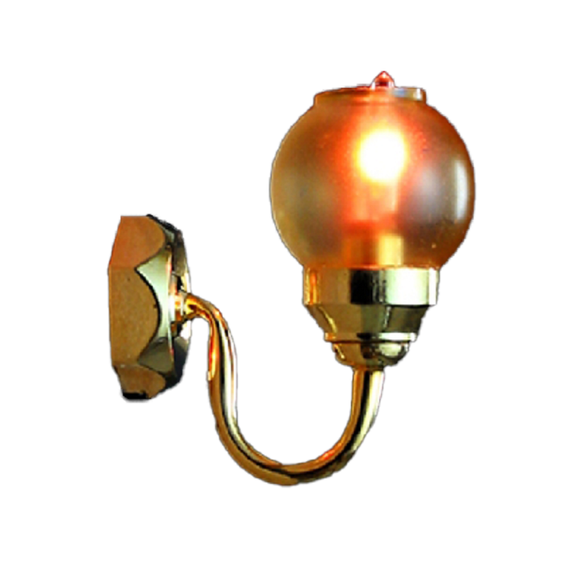 Dolls House Gold Wall Light Tinted Coolie Shade 12V Miniature Electric Lighting