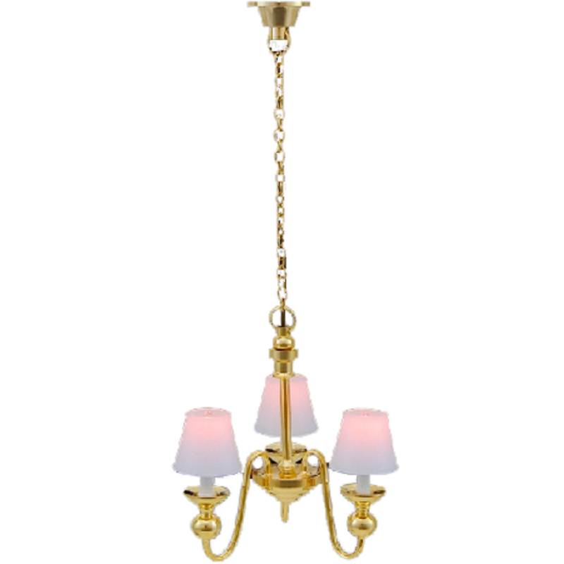 Dolls House 3 Arm Chandelier Classic White UP Shades 12V Electric Ceiling Light