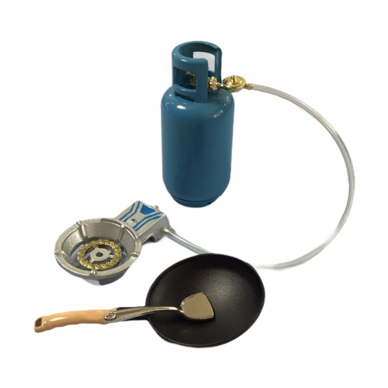 Dolls House Gas Bottle & Camping Stove Miniature 1:12 Garden Barbecue Accessory