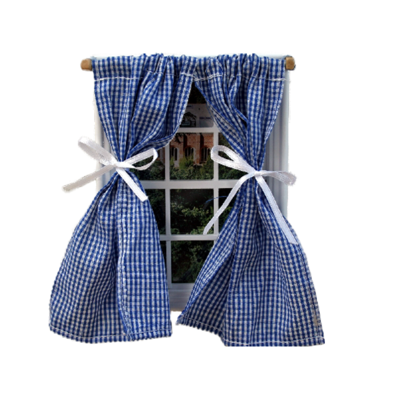 Dolls House Blue Gingham Curtains on Rail Tied Back Miniature 1:12 Accessory