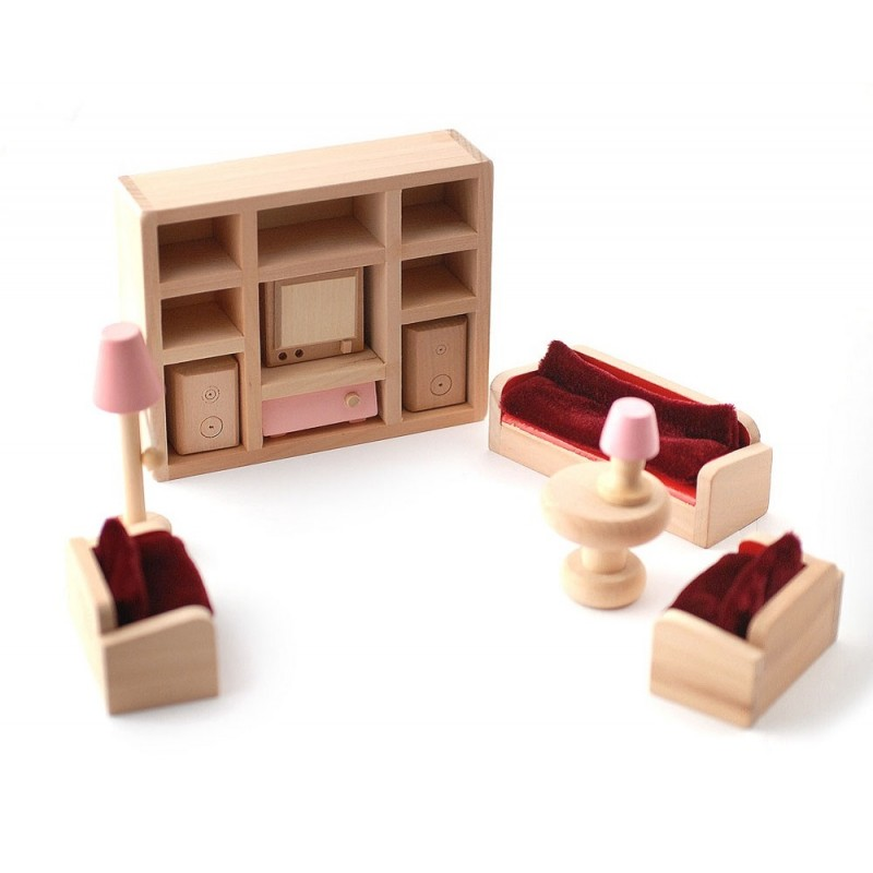 Dolls House Pink Wooden Living Room Set Red Sofa Miniature 3 Years + Furniture
